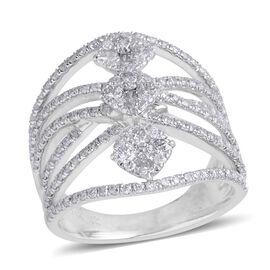 1.50 Carat Diamond Cluster Ring in 14K White Gold 6.6 Grams I3 GH
