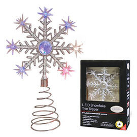 Colour Changing Battery Operated LED Snowflake Tree Topper