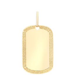 9K Yellow Gold Dog Tag Pendant