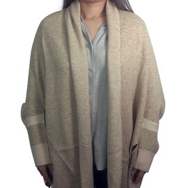 Kris Ana Coloured Border Cardigan One Size - Natural