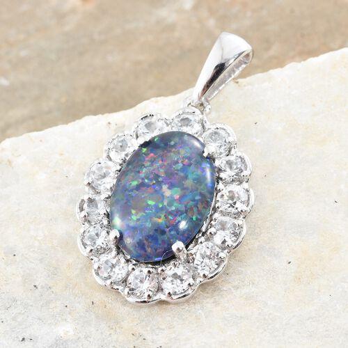 Australian Boulder Opal (Ovl 3.50 Ct), Natural Cambodian Zircon Pendant in Platinum Overlay Sterling Silver 5.750 Ct.