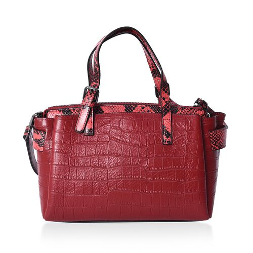 100% Genuine Leather Croc Embossed Tote Bag with Snake Skin Pattern Removable Shoulder Strap (Size 27x13x18 Cm)  - Burgundy