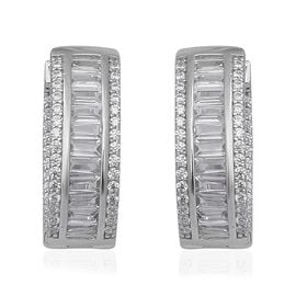ELANZA Simulated Diamond (Rnd and Bgt) Hoop (with Clasp) Earrings in Rhodium Overlay Sterling Silver