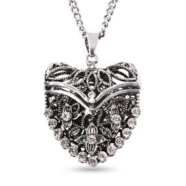 STRADA Japanese Movement Crystal Studded Openable Hollow-out Heart Pendant Watch with Chain (Size 29