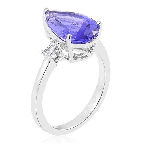RHAPSODY 950 Platinum 5.25 Ct AAAA Tanzanite Ring with Diamond