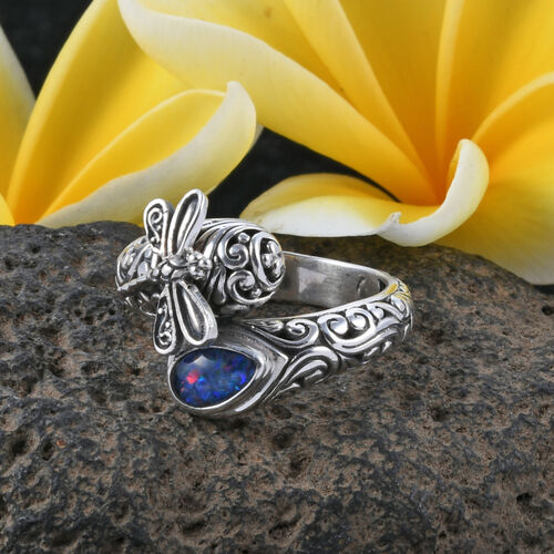 Royal Bali Collection Australian Boulder Opal (Pear) Dragonfly and Filigree Ring in Sterling Silver, Silver wt 8.24 Gms.