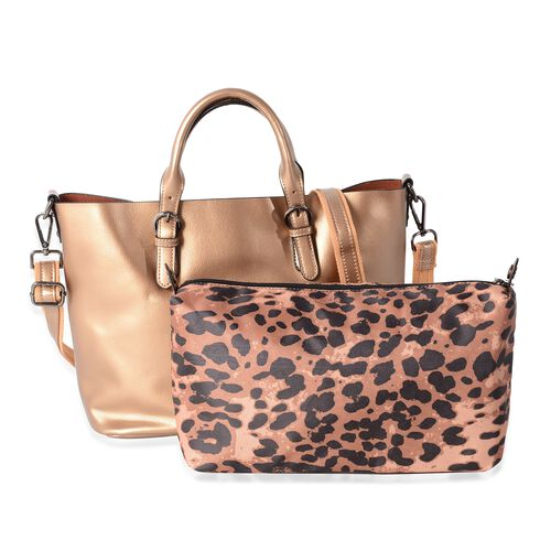 Set of 2 - 100% Genuine Leather Metallic Gold Colour Hand Bag with Removable Shoulder Strap (Size 36x30x23.5x12.5 Cm) and Leopard Pattern Pouch (Size 28x19x10 Cm)
