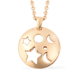 RACHEL GALLEY Yellow Gold Overlay Sterling Silver Moon and Star Pendant with Chain (Size 20), Silver