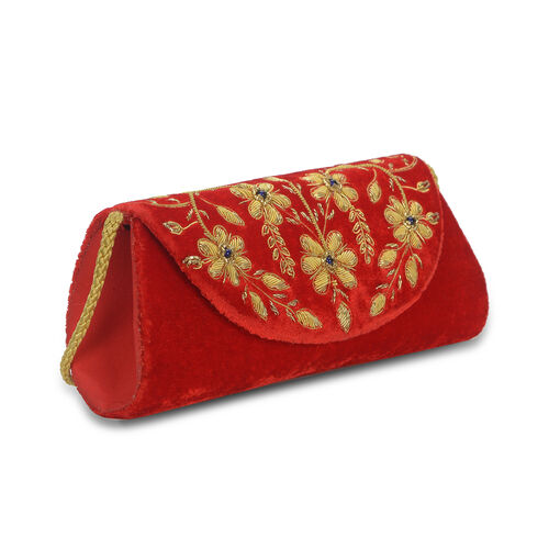 Peacock Sequence Hand Embroidered Velvet Clutch with Shoulder Strap (Size 25.4x12.7 Cm) - Red