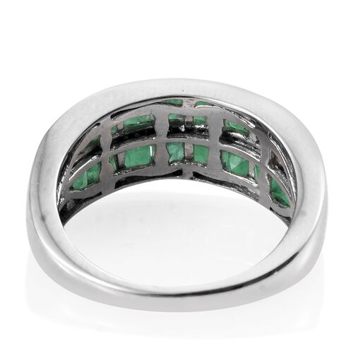 Limited Edition- Kagem Zambian Emerald (Princess Cut), Natural Cambodian Zircon Ring in Platinum Overlay Sterling Silver 3.250 Ct.