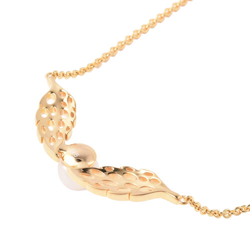 RACHEL GALLEY - Freshwater White Pearl Feather Necklace (Size 24)  in Yellow Gold Overlay Sterling Silver