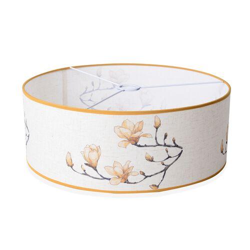 Linen Look Floral Printed Ceiling Lamp Shade with Gold Rim (50 cm Diameter) Beige Flower