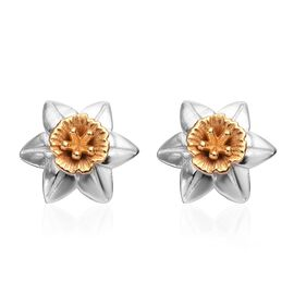 Floral Stud Earrings in Platinum and Yellow Gold Plated Sterling Silver