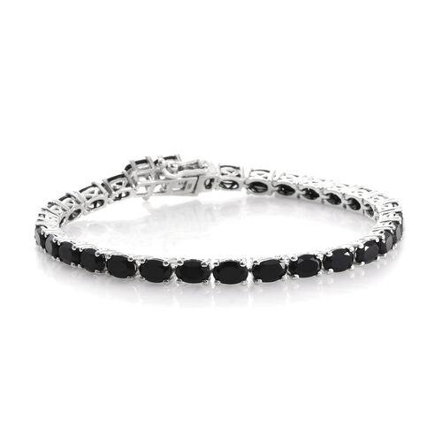 Boi Ploi Black Spinel (Ovl) Tennis Bracelet (Size 7.5) in Platinum Overlay Sterling Silver 19.750 Ct. Silver wt. 11.15 Gms.