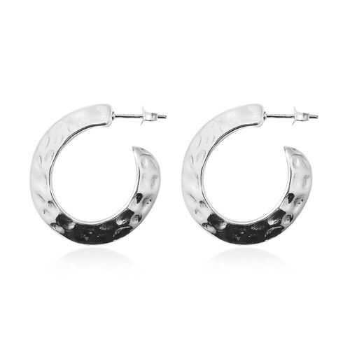 Rhodium Overlay Sterling Silver Hoop Earrings (With Push Back), Silver wt 7.01 Gms.