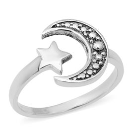 Crescent Moon Star Open Ring in Sterling Silver