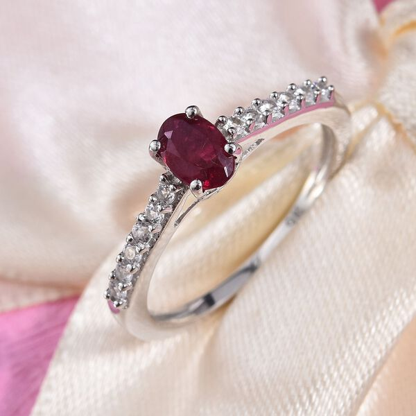 9K White Gold AA African Ruby (Ovl 6x4mm), Natural Cambodian Zircon Ring 2.90 Ct.