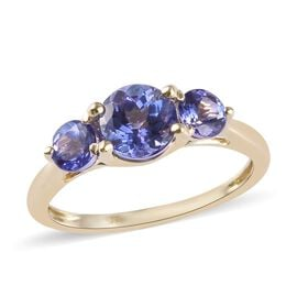1.50 Ct AA Tanzanite Trilogy Ring in 9K Yellow Gold