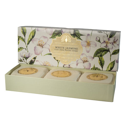 The English Soap Company:  Classic Gift Boxed Soap - White Jasmine & Sandalwood (3 x 100g)