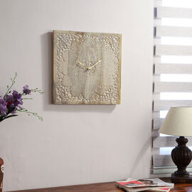 NAKKASHI - Saharanpur Collection Hand Carved Wooden Wall Clock  (46X46 Cm) - Square