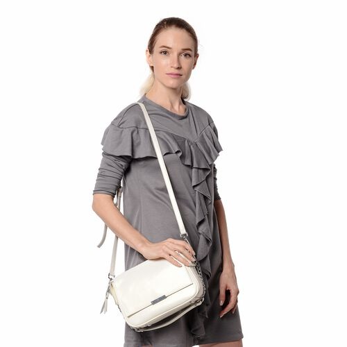 HONG KONG CLOSE OUT DEAL- 100% Genuine Leather White Metallic Colour Crossbody Bag with Removable Sh