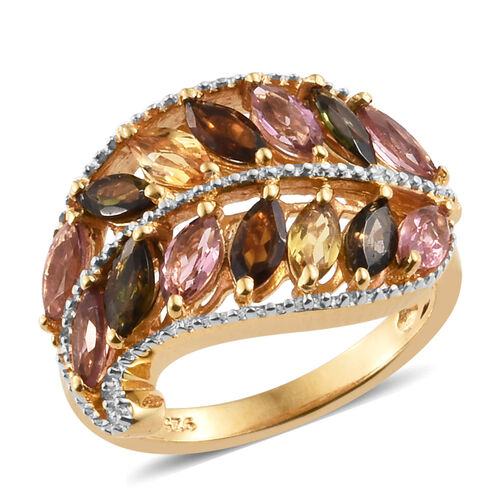 Rainbow Tourmaline (Mrq) Leaf Ring in 14K Gold and Rhodium Overlay Sterling Silver 2.000 Ct.