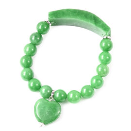 233.50 Ct Carved Green Jade Heart Charm Beaded Bracelet in Rhodium Plated Sterling Silver 6.5 Inch