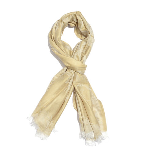 Golden and Grey Colour Leaves Pattern Reversible Jacquard Scarf with Fringes (Size 200X70 Cm)