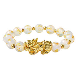 Opalite Stretchable Bracelet (Size-6.5 - 7) in Yellow Tone