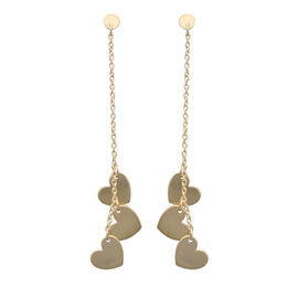 Italian Made - 9K Yellow Gold Heart Dangle Earrings (with Push Back)
