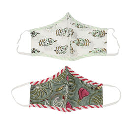 Set of 2 - 100% Cotton Hand Block Printed Reusable Double Layer Face Cover (One Size Fits All) - Whi