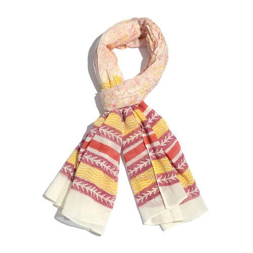 100% Cotton White, Yellow and Multi Colour Stripe Pattern Scarf (Size 200x90 Cm)