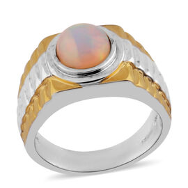 AA Ethiopian Welo Opal Ring in Two Tone Plated Sterling Silver 1.35 Ct, Silver wt 8.50 Gms