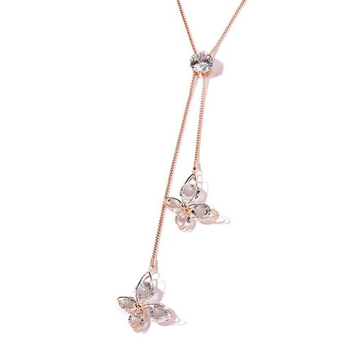 Simulated Diamond (Rnd) Necklace (Size 24)  in Rose Gold Plated