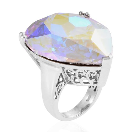 J Francis Crystal from Swarovski -  AB Crystal (28mm Heart) Ring in Platinum Overlay Sterling Silver, Silver wt 9.44 Gms.