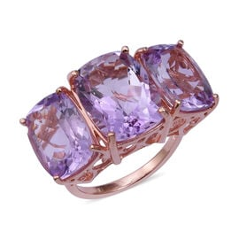 22.01 Ct Rose De France Amethyst 3 Stone Ring in Gold Plated Sterling Silver 6.12 Grams