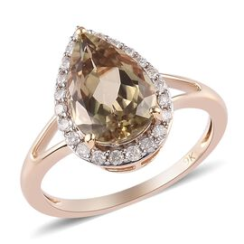9K Yellow Gold Diaspore and Diamond Ring 3.60 Ct.