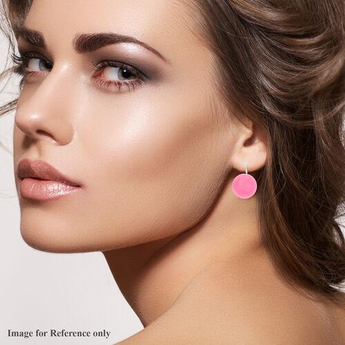 Burmese Pink Jade Bead Hook Earrings in Silver Tone 38.00 Ct.