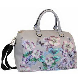 Floral Printed Large Size Duffle Weekend Bag (Size 32x41x22Cm)  - Grey