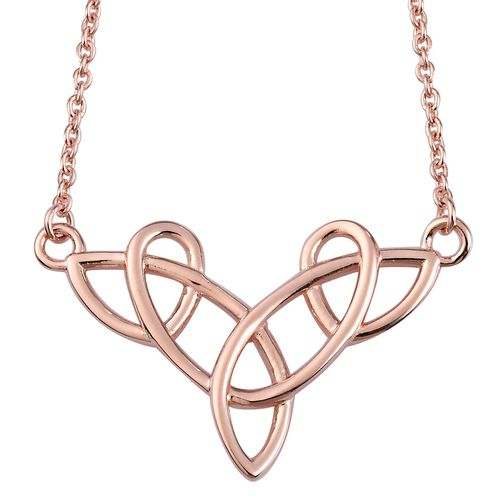 Rose Gold Overlay Sterling Silver Celtic Knot Necklace (Size 20)