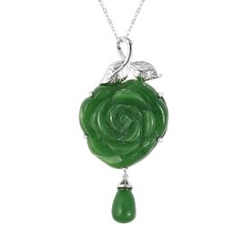 Carved Green Jade Rose Pendant With Chain (Size 18) in Rhodium Overlay Sterling Silver 39.75 Ct.