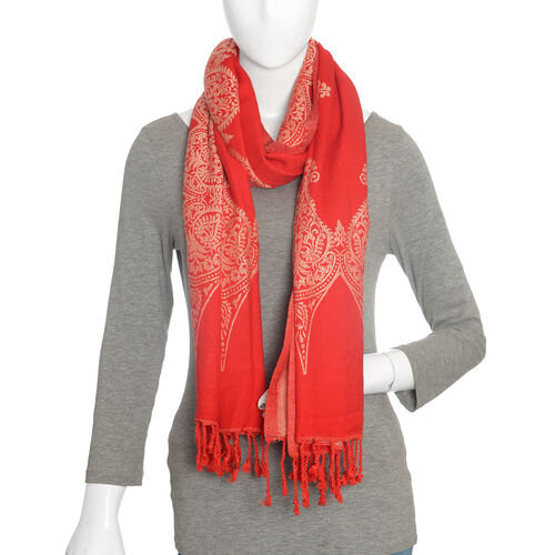 Jacquard Pattern Red and White Scarf (Size 70x200 Cm)