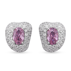 ELANZA Pink Sapphire and Simulated Diamond Earrings in Rhodium Overlay Sterling Silver
