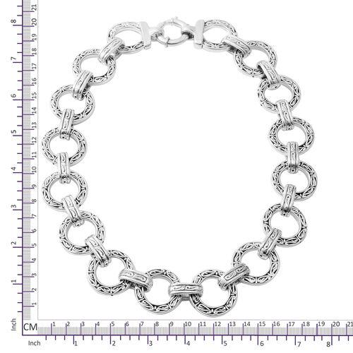 Rhodium Overlay Sterling Silver Bracelet (Size 8), Silver wt 27.00 Gms.