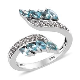 Paraibe Apatite (Mrq), Natural Cambodian Zircon Bypass Ring in Platinum Overlay Sterling Silver 1.00