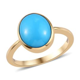 ILIANA 18K Yellow Gold AAA Arizona Sleeping Beauty Turquoise Solitaire Ring 3.30 Ct.