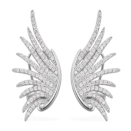 Simulated Diamond Angel Wings Earrings in Rhodium Plated Sterling Silver 6 Grams