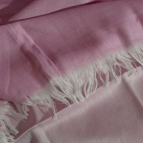 Pink and White Colour Reversible Scarf with Fringes (Size 200X70 Cm)