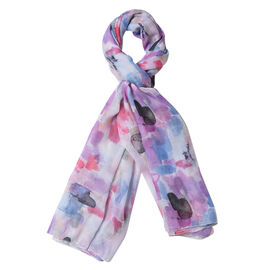 Pink, Blue and Multi Colour Art Pattern Scarf (Size 90x180 Cm)