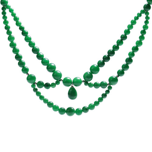 Green Jade Necklace (Size 20) with Magnetic Lock in Rhodium Overlay Sterling Silver  414.00 Ct.